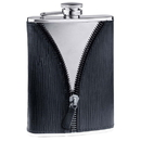 Visol Zipper Black Leatherette Stainless Steel 8 oz. Hip Flask