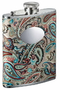 Visol Serenora Paisley Flask with Oval Engraving Plate - 6 ounce