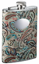 Visol Serenora Paisley Patterned Flask with Oval Engraving Plate - 8 Ounce