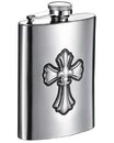 Visol Fleur de Lis Cross 6 oz Brushed Metal Hip Flask