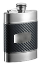 Visol Buckingham Carbon Fiber Patterned Leatherette Liquor Flask - 6 oz