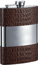 Visol Zarin Handcrafted in USA Brown Leather Flask - 8 oz