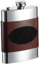Visol Wayne Handcrafted Brown Leather with Inlaid Stingray 8oz Stainless Steel Flask