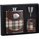 Visol Braw 6oz Leather & Plaid Stainless Steel Flask Gift Set