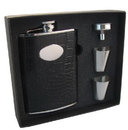 Visol Noir Black Crocodile Leather 8oz Stainless Steel Hip Flask Gift Set
