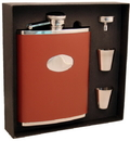 Visol Bobcat Brown Leather 18oz Deluxe Flask Gift Set