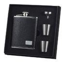 Visol Eclipse S Black Leather 6oz Deluxe Flask Gift Set