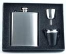Visol Derek Silver Deluxe Hip Flask Gift Set - 6 oz