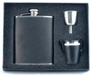Visol Ano Leather Deluxe Hip Flask Gift Set - 6 oz