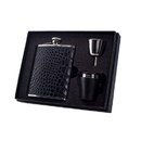 Visol Beau Monde Crocodile Leather Deluxe Hip Flask Gift Set - 6 oz