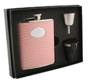 Visol Annabella Light Pink Snake-Skin Leatherette 6oz Deluxe Flask Gift Set