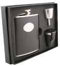 Visol Corspa Black Snakeskin Design 6oz Deluxe Flask Gift Set