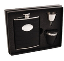 Visol Noir Black Crocodile Leather 6oz Deluxe Flask Gift Set