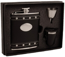 Visol Roxanne Studded Black Leather 6oz Deluxe Flask Gift Set