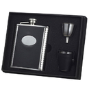Visol Tux Ribbed Design Leather 6oz Deluxe Flask Gift Set