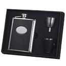 Visol Tux Ribbed Design Leather 6oz Deluxe Flask Gift Set