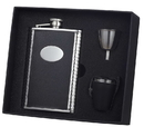 Visol Eclipse Z Black Leather 8oz Deluxe Flask Gift Set