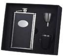 Visol Eclipse Z Black Leather 8oz Deluxe Flask Gift Set