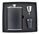 Visol Ano Black Leather 8oz Deluxe Flask Gift Set