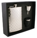 Visol Mate Checker Design Stainless Steel 8oz Flask Gift Set