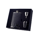 Visol Gator Black Crocodile Leather Deluxe Hip Flask Gift Set - 8 oz