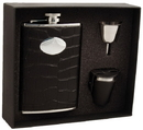 Visol Noir Black Crocodile Leather 8oz Deluxe Flask Gift Set