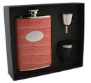 Visol Merveilleux Pink Leatherette 8oz Deluxe Flask Gift Set