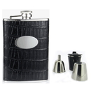 Visol Fantastique Black Crocodile Leatherette Deluxe Hip Flask Gift Set - 8 oz