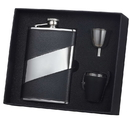 Visol Descent Black Leather 8oz Deluxe Flask Gift Set