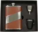Visol Nathan Brown Leather 8oz Deluxe Flask Gift Set
