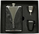 Visol Zipper Black Leatherette Stainless Steel 8oz Deluxe Flask Gift Set