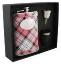 Visol Valor Pink Plaid 8oz Deluxe Flask Gift Set