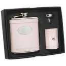 Visol Onida Pink Leather 6oz Deluxe Flask Gift Set