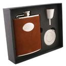 Visol Cowboy Brown Leather Stellar Hip Flask Gift Set - 6 oz