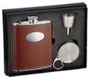 Visol Hound Brown Leather 6oz Stellar Flask Gift Set