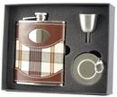 Visol Braw Plaid Cloth Brown Leather Stellar Hip Flask Gift Set - 6 oz