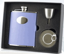 Visol Lavender Leather Stainless Steel Hip Flask, Telescopic Shot Cup and Funnel Gift Set - 6 oz