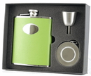 Visol Green Leather Stainless Steel Hip Flask, Telescopic Shot Cup and Funnel Gift Set - 6 oz