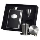 Visol Tux Leather Stellar Hip Flask Gift Set - 6 oz