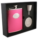 Visol Lydia Hot Pink Leatherette 6oz Stellar Flask Gift Set