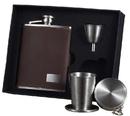 Visol Hunter Dark Brown Leather 6oz Stellar Flask Gift Set