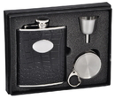 Visol Noir Black Crocodile Leather 6oz Stellar Flask Gift Set