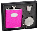 Visol Blush Pink Crocodile Leatherette 6oz Stellar Flask Gift Set
