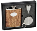 Visol Bronze Brown Crocodile Leather 6oz Stellar Flask Gift Set