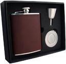 Visol Kenton 6oz Brown Leatherette Stellar Flask Gift Set
