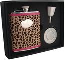 Visol Cheetah 6oz Pink Leather Stellar Flask Gift Set