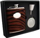 Visol Tiger 6oz Leather Stellar Flask Gift Set