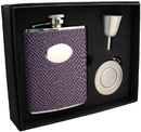 Visol Purple Boa 6oz Leatherette Stellar Flask Gift Set