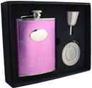Visol Emma 6oz Pink Leatherette Stellar Flask Gift Set