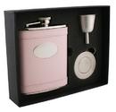 Visol Satisfaction Pink Leather 6oz Stellar Flask Gift Set
